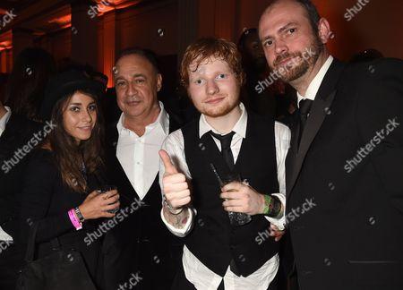Athina Andrelos, Len Blavatnik and Ed Sheeran