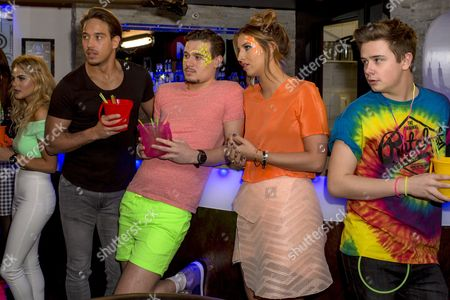James Lock, Charlie Sims and Ferne McCann share a drink the at Full Moon Party.