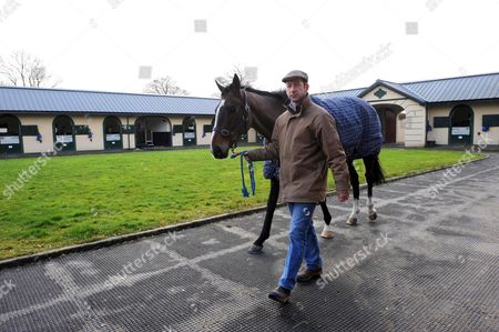 Churchtown, Co Cork. Trainer JIM CULLOTY and Betfred Cheltenham Gold Cup winner LORD WINDERMERE ahead of the 2015 Festival.