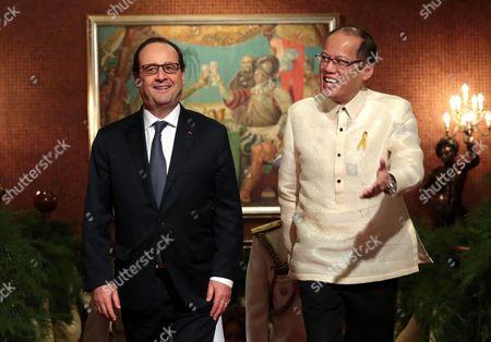 President Benigno Aquino III (R) and French President Francois Hollande at Malacaoang Palace