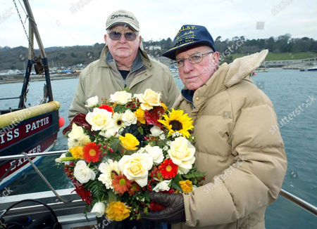 Editorial picture of AMERICAN NAVY VETERAN AL SICKLEY WHO WAS RESCUED OFF DEVON COAST IN 1944 DURING A DISASTROUS D DAY LANDINGS EXERCISE RESCUED AGAIN 60 YEARS LATER DUE TO SEASICKNESS WHILST LAYING A WREATH AT THE SPOT, DEVON, BRITAIN - 2004