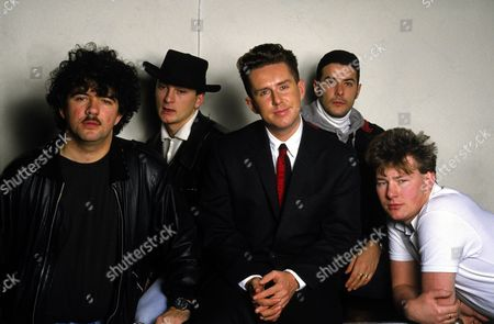 Stock Photo of Mark O'Toole, Holly Johnson, Paul Rutherford, Peter Gill, Brian Nash in London, Britain - Dec 1986