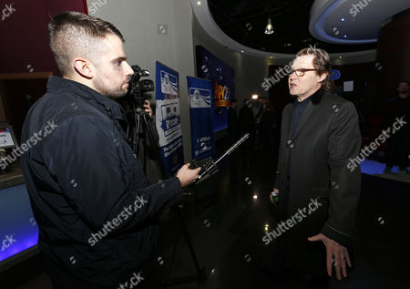 "QPR fan and BBC Radio Presenter Robert Elms being interviewed at the premier screening of ""R'Story"", The story of QPR. A documentary about the 133-year existence of the club."