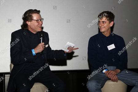"QPR fan and BBC radio presenter Robert Elms talks to film producer/director Max Robson during a Q&A session after the premier screening of ""R'Story"", The story of QPR. A documentary about the 133-year existence of the club."