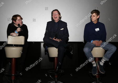 "(L to R) QPR fan Rabbi Ariel Friedlander, BBC radio presenter Robert Elms and producer/director Max Robson during a Q&A session after the premier screening of ""R'Story"", The story of QPR. A documentary about the 133-year existence of the club."