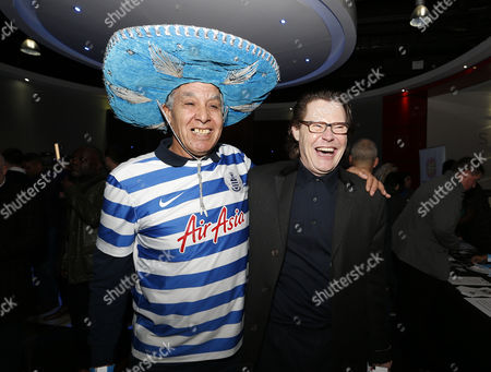 "QPR fans Ben Lauroa and BBC Radio Presenter Robert Elms at the premier screening of ""R'Story"", The story of QPR. A documentary about the 133-year existence of the club."