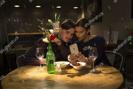 Charlie Sims and Ferne McCann share time together in Charlie's Deli after hours