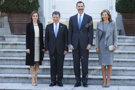 King Felipe VI of Spain and Queen Letizia with Maria Clemencia Rodriguez de Santos and Queen Letizia