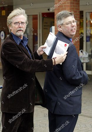 Stock Image of FRANC RODDAM (L) , A DIRECTOR, WHO BOUGHT THE RIGHTS TO THE DEBUT NOVEL 'ONE FOR SORROW' BY CLIVE WOODALL (R)