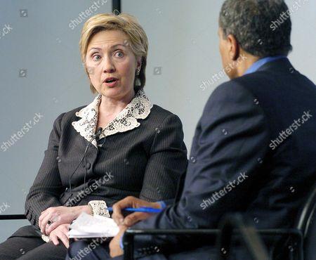 Senator Hillary Clinton speaks with National Public Radio presenter Juan Williams