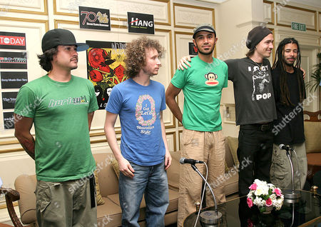 Jose Pasillas, Mike Einzeiger, Ben Kenney, Brandon Boyd and Chris Kilmore of Incubus - Press conference at the Dusit Thani Hotel, to promote concert - 13 MAR