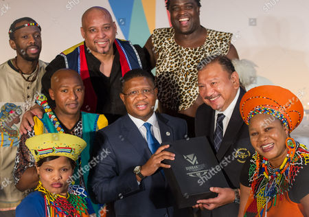 Stock Picture of Fikile Mbalula, South African Minister of Sport and HRH Prince Imran, Chair of the Commonwealth Games Federation and cultural performers