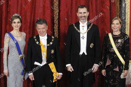 King Felipe VI of Spain, Queen Letizia, Juan Manuel Santos and Maria Clemencia Rodriguez de Santos