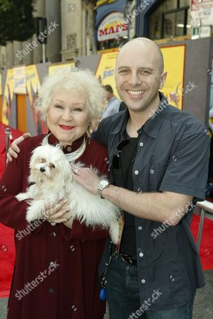 Stock Image of Estelle Harris with dog Zsa Zsa and John Sanford