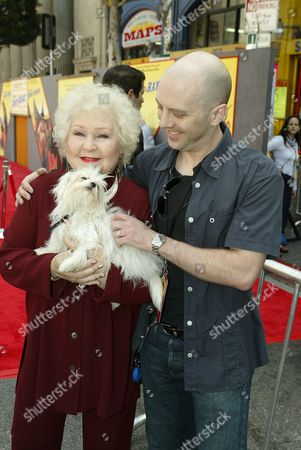 Stock Photo of Estelle Harris with dog Zsa Zsa and John Sanford