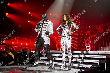 Allan Pineda Lindo and Stacy Ann Ferguson, Fergie, of the U.S. hip-hop band The Black Eyed Peas live at the Hallenstadion Oerlikon stadium, Zurich, Switzerland