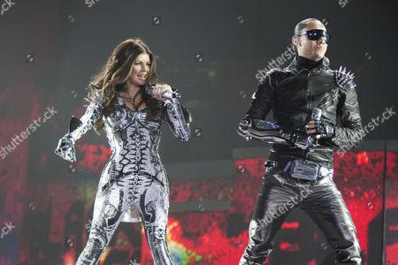 Singers Stacy Ann Ferguson, Fergie, and Jaime Luis Gomez of the U.S. Hip-Hop band The Black Eyed Peas live at the Hallenstadion Oerlikon stadium, Zurich, Switzerland
