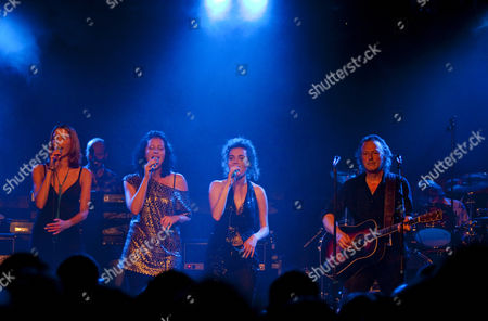 Ganes, the backup singers of Hubert von Goisern live with the German cult band BAP live in the Schueuer venue, Lucerne, Switzerland