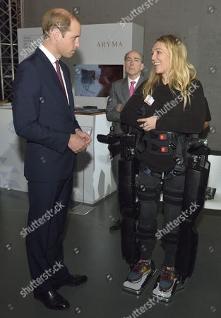Prince William meets Sophie Morgan who is a Paraplegic and is walking in a Rex Robot visits the GREAT British Festival of Creativity in Shanghai