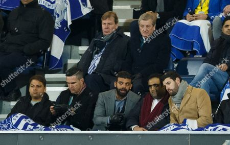 Kevin Pietersen along side QPR shareholder Amit Bhatia with QPR CEO Philip Beard next to England manager Roy Hodgson