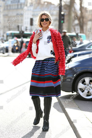 Editorial photo of Street Style at Autumn Winter 2015, Paris Fashion Week, France - 04 Mar 2015