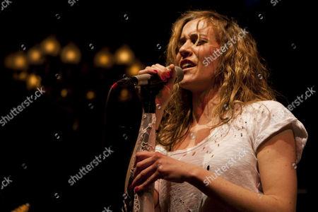 Stock Picture of Austrian rock singer and songwriter Saint Lu, aka Luise Gruber, now living in Berlin, live at the Schweizer Showcase by Radio Pilatus in the Zeugheersaal of Hotel Schweizerhof in Lucerne, Switzerland