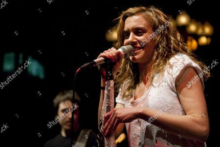 Austrian rock singer and songwriter Saint Lu, aka Luise Gruber, now living in Berlin, live at the Schweizer Showcase by Radio Pilatus in the Zeugheersaal of Hotel Schweizerhof in Lucerne, Switzerland