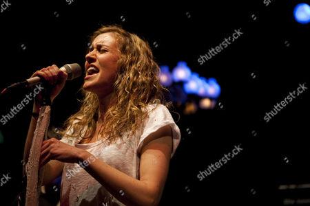 Stock Image of Austrian rock singer and songwriter Saint Lu, aka Luise Gruber, now living in Berlin, live at the Schweizer Showcase by Radio Pilatus in the Zeugheersaal of Hotel Schweizerhof in Lucerne, Switzerland