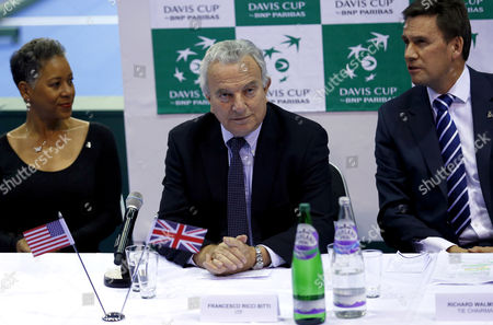 Stock Picture of Francesco Ricci Bitti, President of the ITF, attends the draw for the First Round Tie of the Davis Cup in the World Group 2015, at the Emirates Arena, Glasgow.