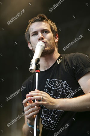 Johannes Strate, singer and frontman of the German pop-rock band Revolverheld live at the Heitere Open Air in Zofingen, Aargau, Switzerland
