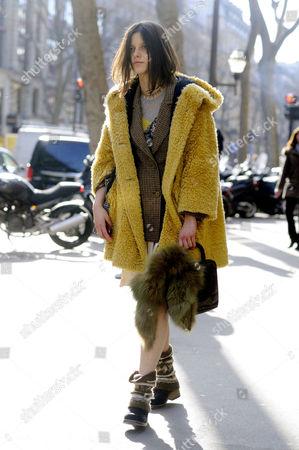 Editorial image of Street Style at Autumn Winter 2015, Paris Fashion Week, France - 05 Mar 2015