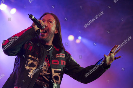 Joacim Cans, singer and frontman of the Swedish power metal band Hammerfall live at the Rocksound Festival in Huttwil, Bern, Switzerland