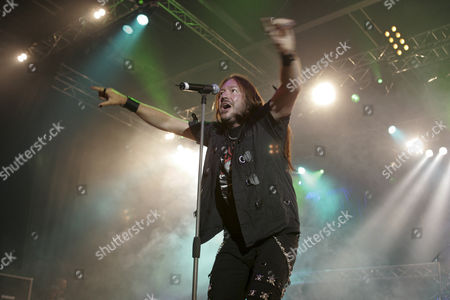 Joacim Cans, singer and frontman of the Swedish power metal band Hammerfall live at the Rocksound Festival in Huttwil, Bern, Switzerlandrland