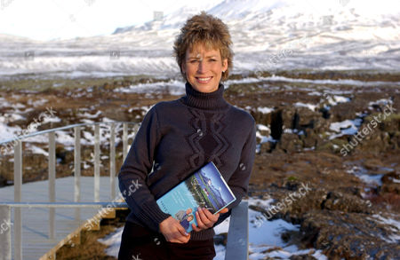 SALLY MAGNUSSON WITH HER BOOK 'DREAMING OF ICELAND: THE LURE OF A FAMILY LEGEND'