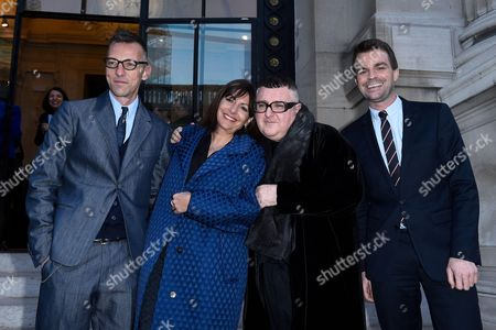 Director of the Galliera Museum Olivier Saillard, Mayor of Paris Anne Hidalgo, Albert Elbaz and First Deputy Mayor of Paris Bruno Julliard