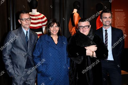 Stock Photo of Olivier Saillard, Mayor of Paris Anne Hidalgo, Albert Elbaz and Bruno Julliard