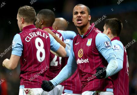 Gabby Agbonlahor of Aston Villa celebrates his sides opening goal scored by Fabian Delph
