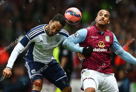 Joleon Lescott of West Bromwich Albion and Gabby Agbonlahor of Aston Villa in action