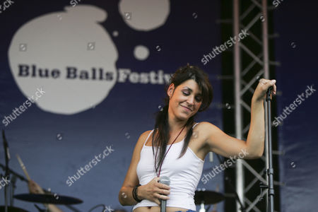 Jessica Knoll, singer and front woman of the Swiss band Dust live at Blue Balls Festival in the Pavillon am See venue in Lucerne, Switzerland