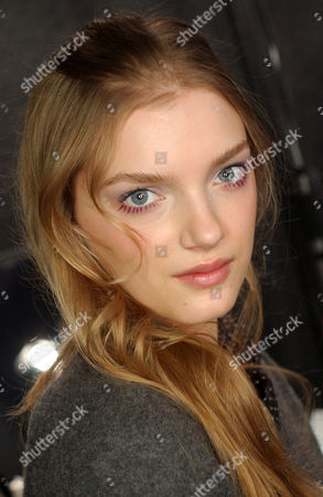 Lily Donaldson at the Alessandro Dell Acqua show backstage, Milan, Italy