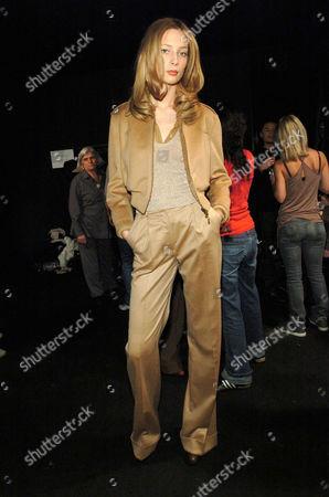 Tiiu Kuik at the MaxMara show backstage, Milan, Italy