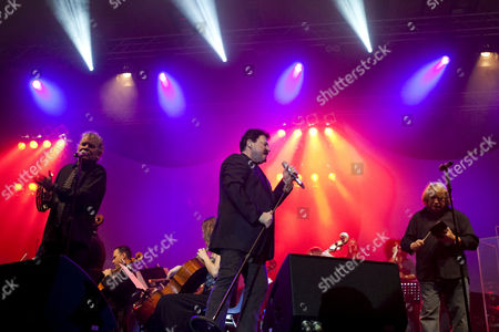 From left to right, Dan McCafferty, singer and frontman of the Scottish band Nazareth, Bobby Kimball, singer and frontman of U.S. band Toto, and Lou Gramm, singer and frontman of the British-American band Foreigner, live at Rock Meets Classic at the civic hall Sursee, Lucerne, Switzerland