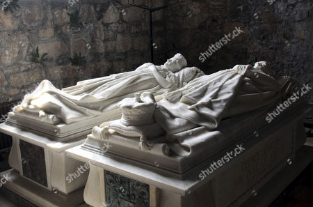 Iona Abbey, inside the monastery church, tomb of George Douglas, the 8th Duke of Argyll, Iona island, Inner Hebrides, Scotland, United Kingdom, Europe