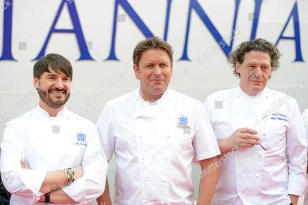 Celebrity chefs Eric Lanlard, James Martin and Marco Pierre White