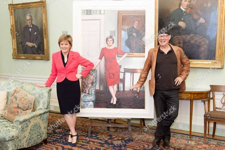Editorial photo of First Minister Nicola Sturgeon painting unveiled at Bute House in Edinburgh, Scotland, Britain - 10 Mar 2015