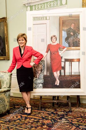 Editorial image of First Minister Nicola Sturgeon painting unveiled at Bute House in Edinburgh, Scotland, Britain - 10 Mar 2015