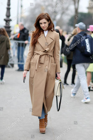 Editorial picture of Street Style at Autumn Winter 2015, Paris Fashion Week, France - 10 Mar 2015