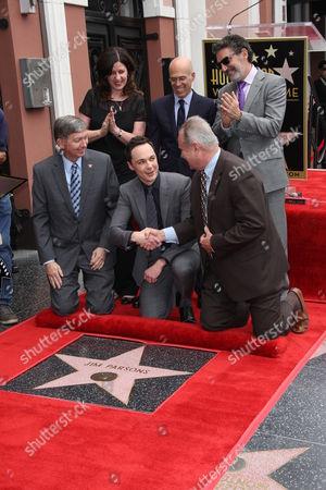Chuck Lorre, Bill Prady, Peter Roth, Nina Tassler and Jim Parsons