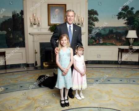 PRESIDENT GEORGE W BUSH WITH AMANDA REEVES [5] AND EMMA HENDERSON [7]