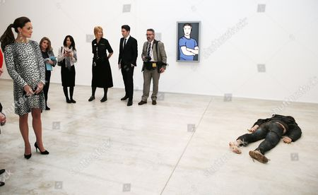 "Catherine Duchess of Cambridge, looks at ""Self Portrait as a Drowned Man"" by Jeremy Millar during a visit to Turner Contemporary in Margate"